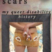 Book cover for Fading Scars: My Queer Disability, 2nd edition. Image: photo of disabled artist Sandie Yi wearing her latex clothing and prosthetics